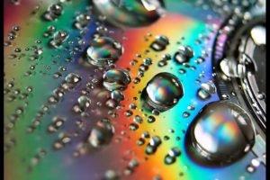 closeup, Discs, Water drops