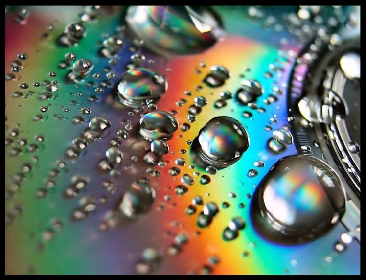 closeup, Discs, Water drops HD Wallpaper Desktop Background
