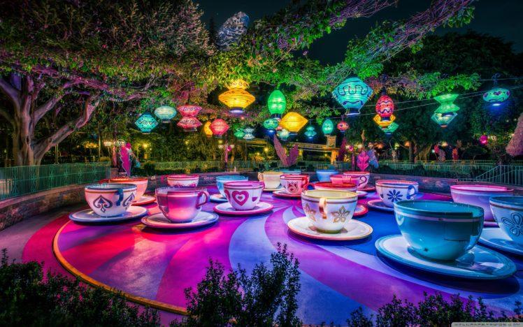 Disneyland, Theme parks, Trees, Lantern, Cup, California, Colorful HD Wallpaper Desktop Background