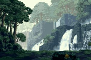 pixel art, Forest, Waterfall