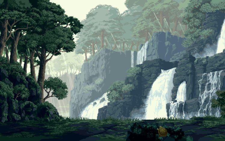 pixel art, Forest, Waterfall HD Wallpaper Desktop Background