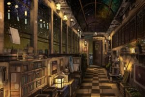 interior, Stars, Night, Shooting stars, Checkered, Books