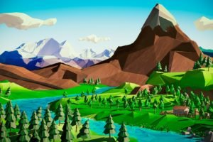 low poly, Mountains, River