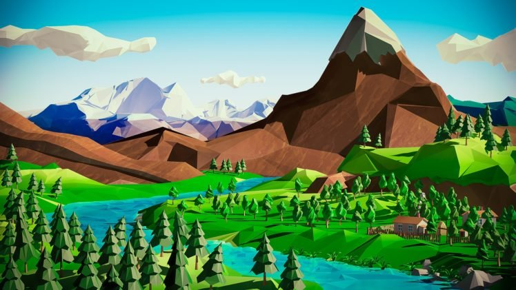 Low Poly Mountains River Hd Wallpapers Desktop And