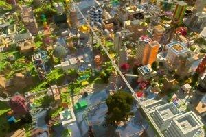 Minecraft, Wolf, Cityscape