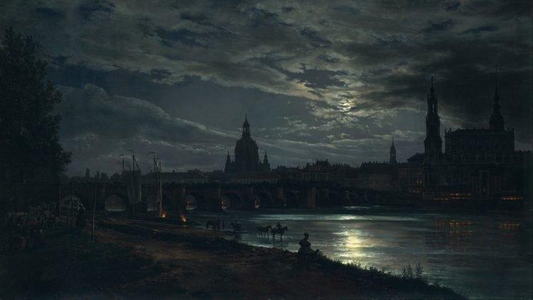 dark, Night, River, Bridge, Arch HD Wallpaper Desktop Background