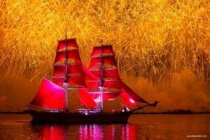 sailing ship, Fireworks, Red