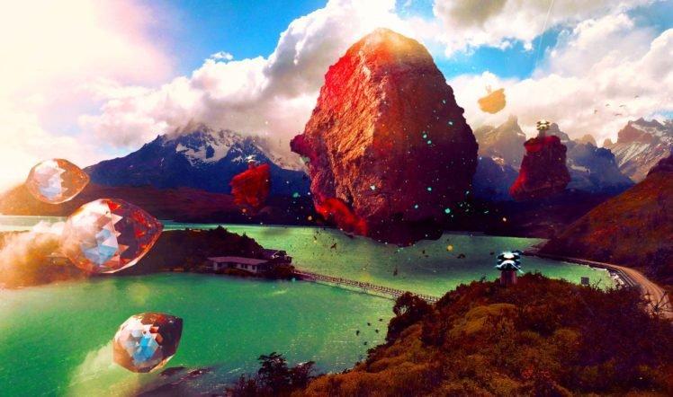 crystal, Mountains, Bridge HD Wallpaper Desktop Background