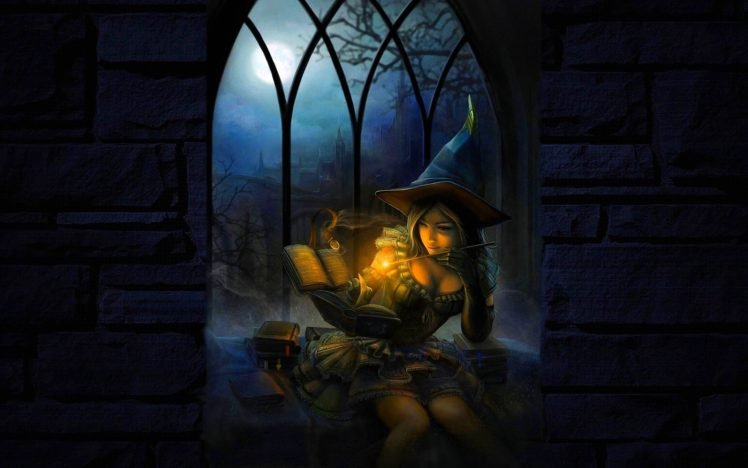 witch, Women, Magic, Reading, Night HD Wallpaper Desktop Background