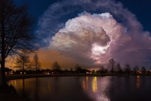 pond, Storm, Lightning