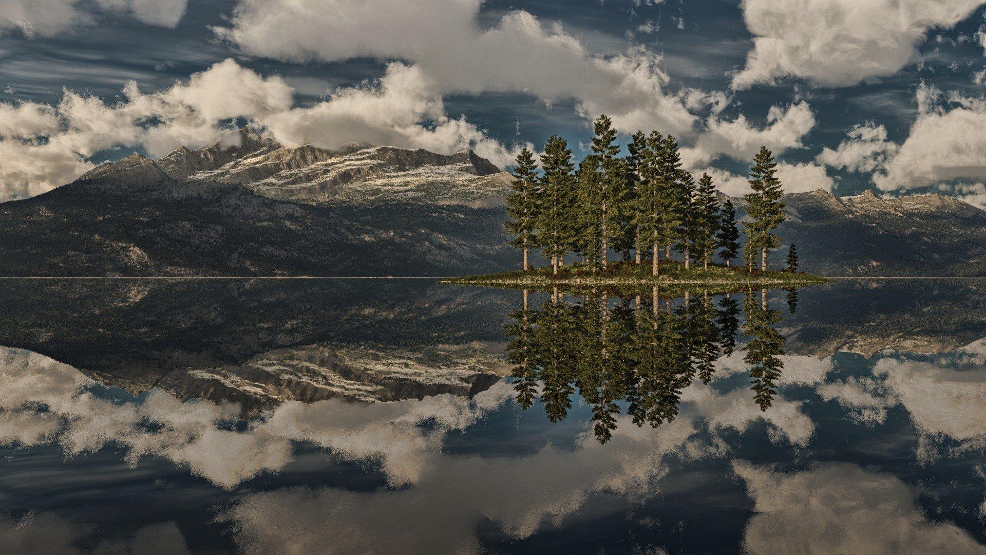 природа деревья горизонт скалы отражение озеро nature trees horizon rock reflection the lake без регистрации