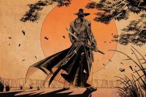 sunset, Samurai, Sword