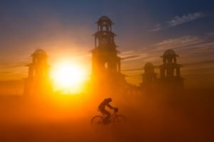 sunset, Bicycle, Silhouette, Sunlight, Mist
