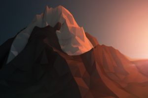 low poly, Mountains