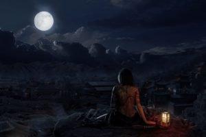 village, Moon, Night, Oriental, Skull