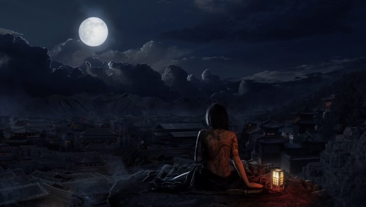 village, Moon, Night, Oriental, Skull HD Wallpaper Desktop Background