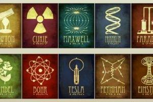 scientists, Isaac Newton, Albert Einstein, Nikola Tesla, Faraday, Science, Chemistry, Physics, Infographics, History