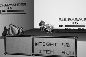 Bulbasaur, Charmander, Battle, Pixel art, Pokémon, Video games