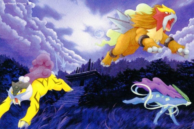 Entei, Suicune, Raikou, Pokémon HD Wallpaper Desktop Background