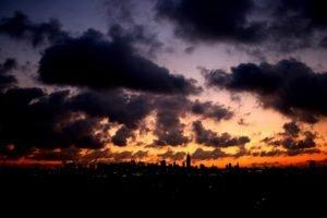 sunset, Cityscape