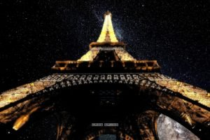 worm&039;s eye view, Stars, Eiffel Tower, Paris, France
