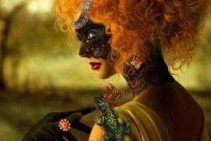 women, Redhead, Mask, Venetian masks
