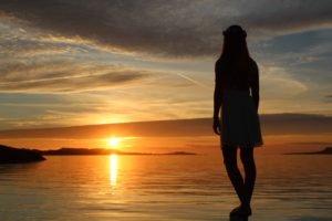 women, Sunset, Norway