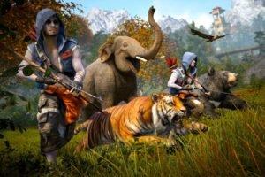 Far Cry 4, Far Cry, Tiger, Elephant, Bow, Bears, Running