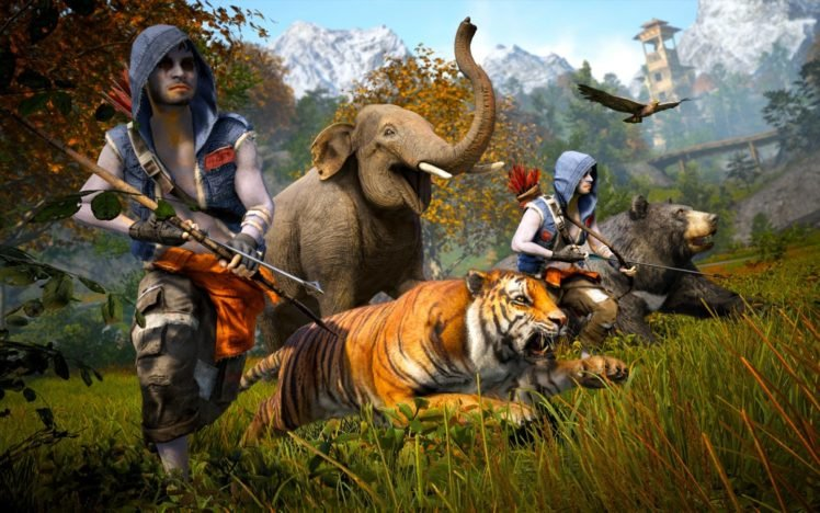 Far Cry 4 Far Cry Tiger Elephant Bow Bears Running Hd Wallpapers Desktop And Mobile Images Photos
