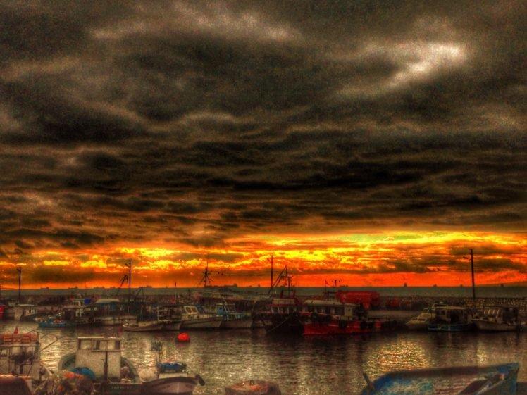 sunset, Boat, Sea, Horizon, Clouds HD Wallpaper Desktop Background