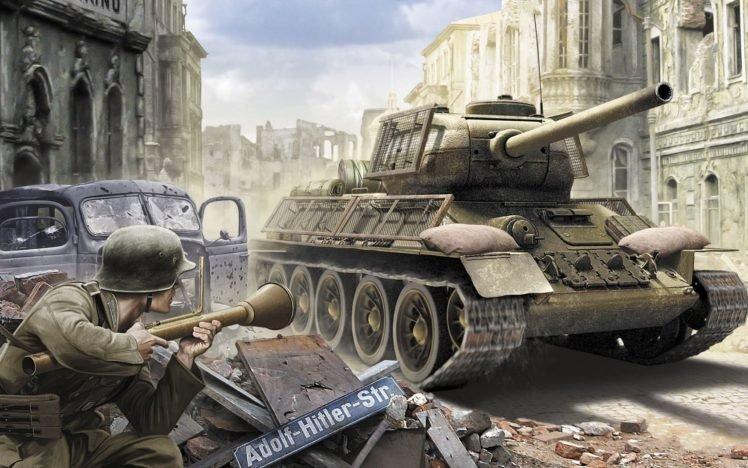 Adolf Hitler, Tank, T 34, World War II HD Wallpaper Desktop Background