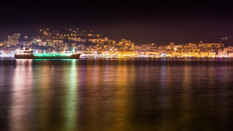 Ajaccio, Sea, Night, Lighter, Colorful HD Wallpaper Desktop Background