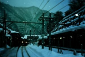 train, Winter, Railway station