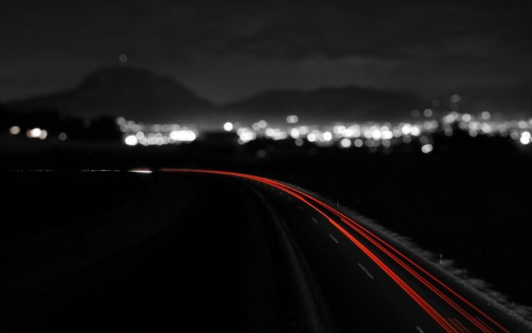 night, City, Monochrome, Long exposure, Road, Light trails HD Wallpaper Desktop Background