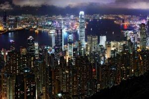 night, City, Victoria Harbour, Hong Kong, Two International Finance Centre, Bank of China Tower, Mongolia