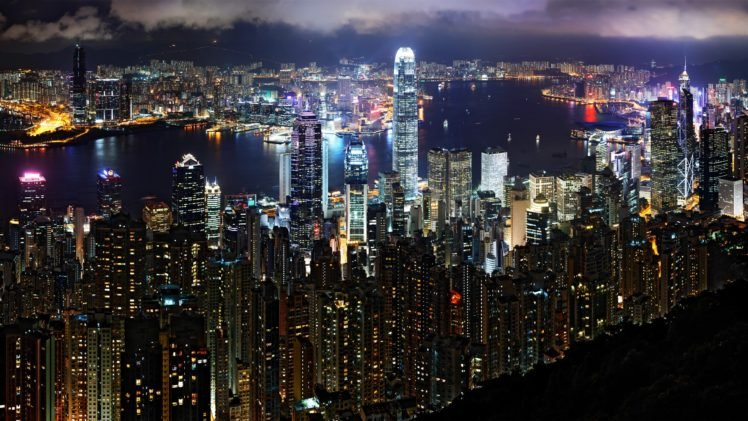 night, City, Victoria Harbour, Hong Kong, Two International Finance Centre, Bank of China Tower, Mongolia HD Wallpaper Desktop Background