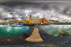sea, Clouds, Cityscape, Fisheye lens