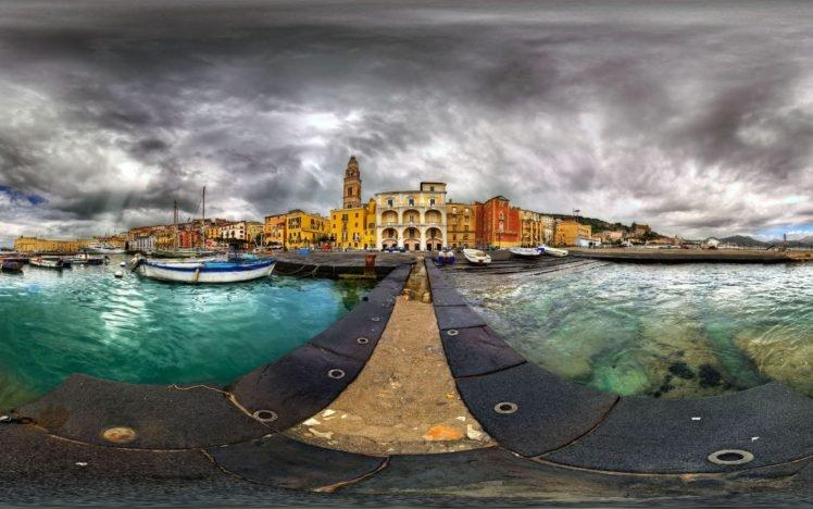 sea, Clouds, Cityscape, Fisheye lens HD Wallpaper Desktop Background