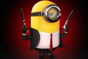 minions, Hitman, Simple background