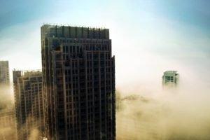 cityscape, Building, Mist