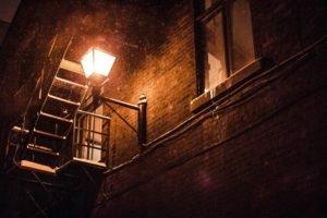 night, Snow, Lantern, Wall, Building