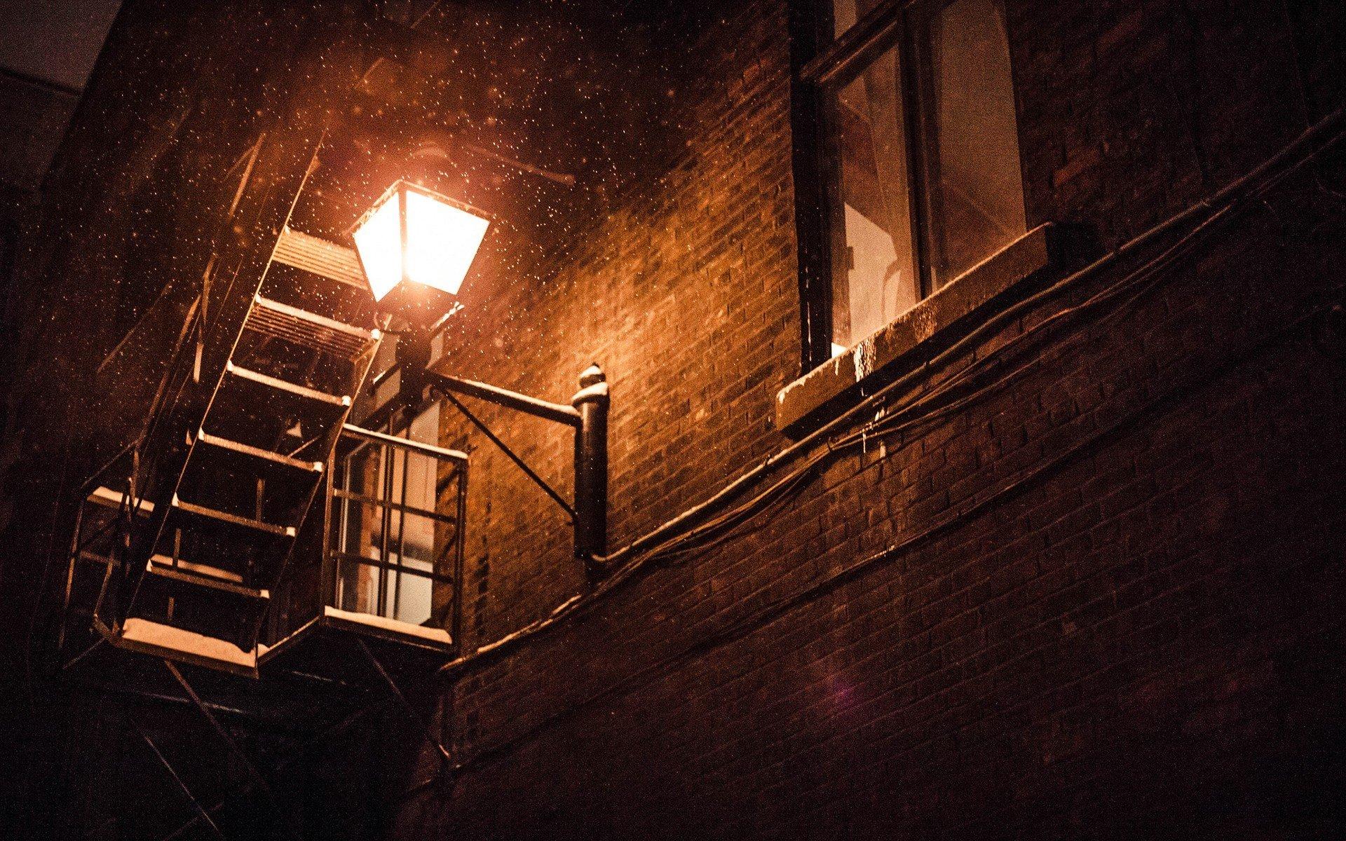 Night, Snow, Lantern, Wall, Building HD Wallpapers