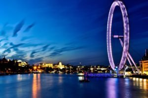 London, Cityscape, London Eye, Ferris wheel, Sea, Boat, River Thames, Photography, River, City, Urban, Lights, Water, Night