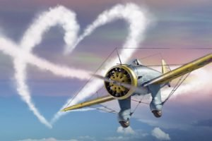 heart, War Thunder, Airplane, Gaijin Entertainment, Contrails