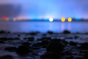 bokeh, Calm, Water, Sea, Night