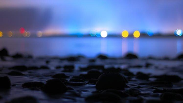 Bokeh Calm Water Sea Night HD Wallpaper Desktop Background