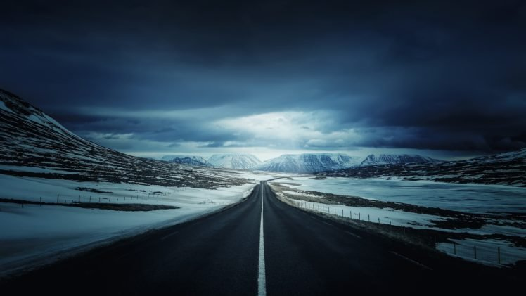 road, Snow, Mountains HD Wallpaper Desktop Background