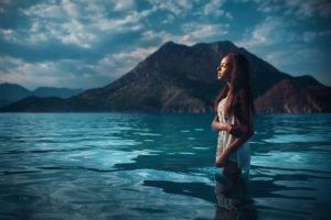 women, Long hair, Closed eyes, Model, Women outdoors, Sea