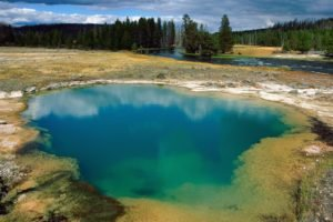 Yellowstone National Park, Morning Glory Pool, Hot spring, River