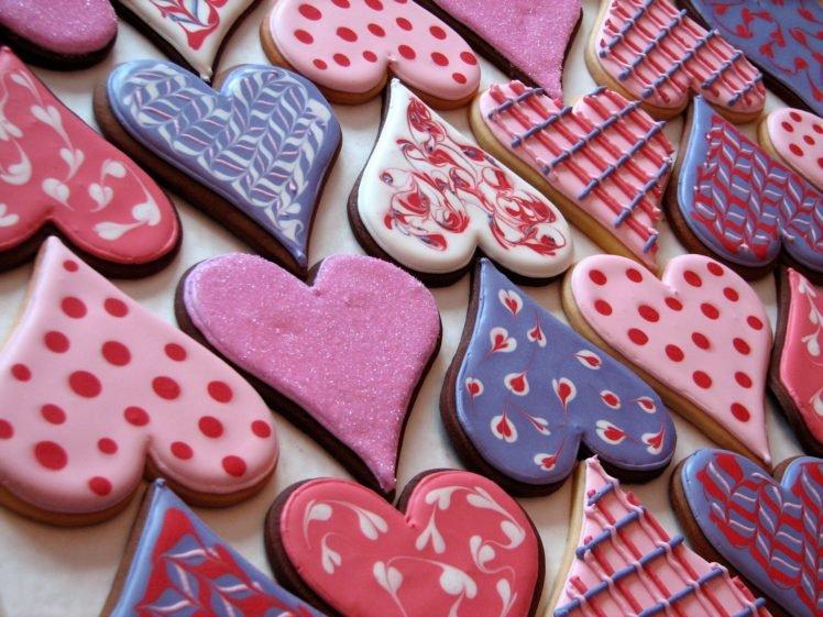 heart, Cookies, Pink, Icing, Valentine&039;s Day HD Wallpaper Desktop Background